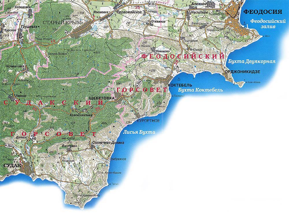 Подробная карта Крыма
